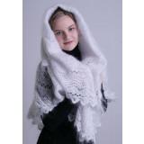Платок Пуховый платок ручной работы шаль белая ручной работы, 150...
