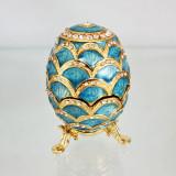Копия Фаберже 3193-002 яйцо шкатулка, голубое, 8