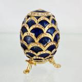 Копия Фаберже 3193-002 яйцо шкатулка, синее, 8