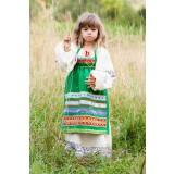 Русский народный детский костюм ФАРТУКИ зеленый, 95 см