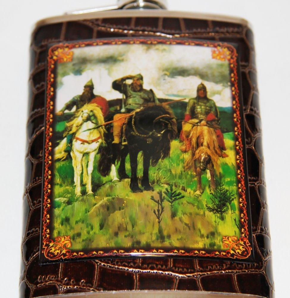 Фляжка металлическая набор: фляга русские народные сюжеты, 4 рюмки и минилейка