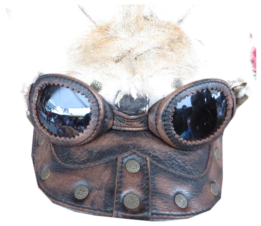 Головной убор шапка меховая оригинальная, с ушами, с очками и кожанным козырьком