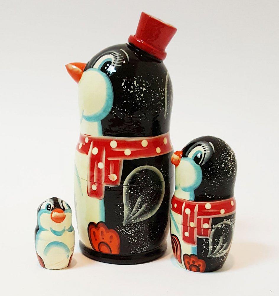 Матрешка 3 места Пингвин головастый малый