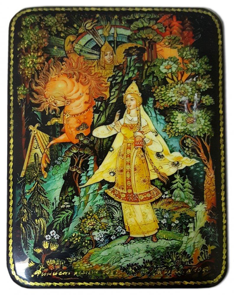 Шкатулка лаковая с элементами ручной росписи Финист ясный сокол