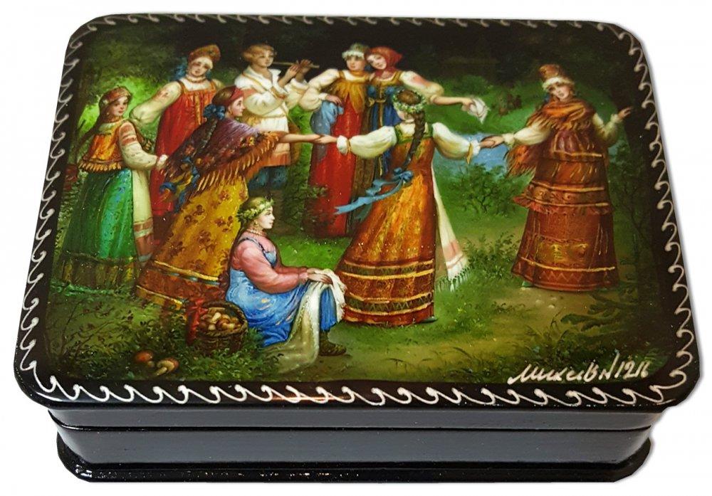 Шкатулка лаковая с элементами ручной росписи Лель