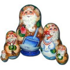 Матрешка Сергиево-Посадская 5 мест Дед со снегирем