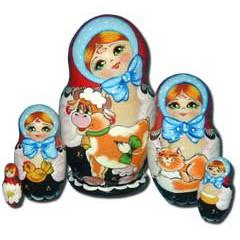 Матрешка Сергиево-Посадская 5 мест Девочка с теленком
