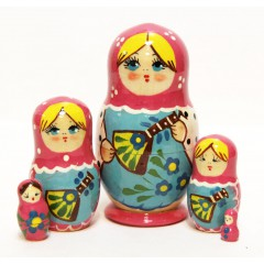 Матрешка Сергиево Посадская 5 мест Балалайка малиновая
