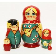 Матрешка Сергиево Посадская 5 мест Балалайка желт