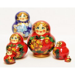Матрешка Сергиево-Посадская 5 мест МНА красная
