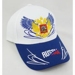 Головной убор Бейсболка Россия, Герб России, крылья, белый верх, синий козырек