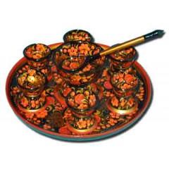Хохлома сувенирная Набор для икры (9 предметов)