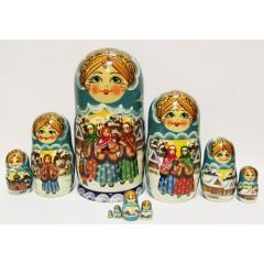 Матрешка Сергиево Посадская 10 мест Сюжетная (938)