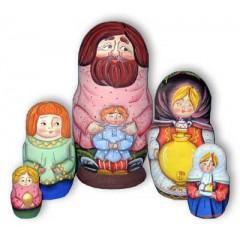 Матрешка Сергиево Посадская 5 мест Дед с мальчиком акрил