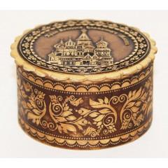 Береста шкатулка круглая маленькая, Храм Василия Блаженного