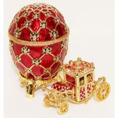 Копия Фаберже HJD0247A-1+HJD0271A-1 яйцо с каретой большое, красное