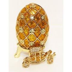 Копия Фаберже GD317-3+JB1561-7 Яйцо Сетка с каретой цв. зололотой