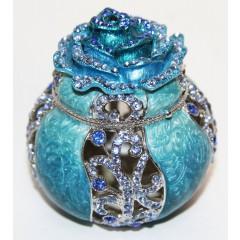 Копия Фаберже JD0355-2 Шкатулка, ажурная роза, синяя