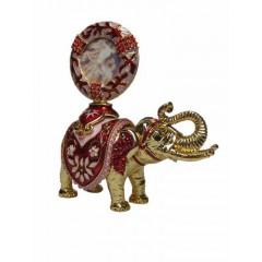 Копия Фаберже JD0026-9 Шкатулка Слон с портретом, красная