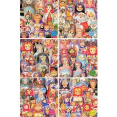 Подставка для кружек - костерс 450-36-3 Набор сувенирных плакеток Матрешки 6 шт.