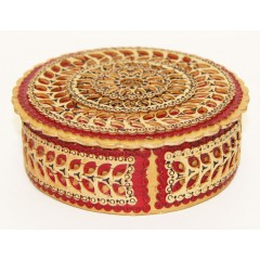 Береста шкатулка круглая с красными элементами