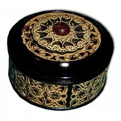 Береста шкатулка 30603 круглая янтарь