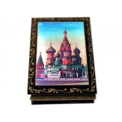 Шкатулка лаковая С61 Собор Василия Блаженного (наклейка)