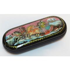 Шкатулка лаковая Тройка, ручная роспись