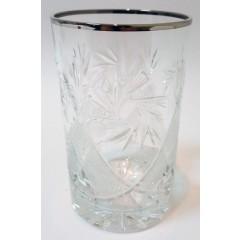 Посуда Стакан хрустальный с серебрянной каймой