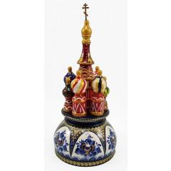 Музыкальный собор - макет Гжель перламутровая, 21 см., невращающийся, Храм Василия Блаженного