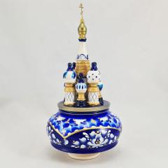 Музыкальный собор - макет Храм Василия Блаженного, гжель круглый Россия 23