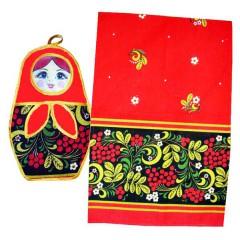 Текстиль Набор Хохлома 2 предм. полотенце и прихватка с аппликацией матрешка (А20045)