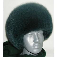 Головной убор шапка меховая круглая, тёмно-зелёная песцовая