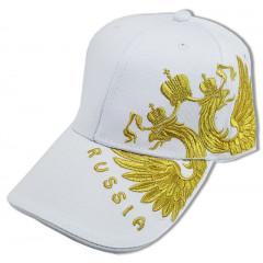 Головной убор Бейсболка Герб России вышивка, белая