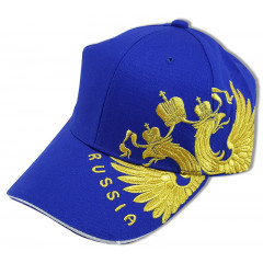 Головной убор Бейсболка Герб России вышивка, синяя