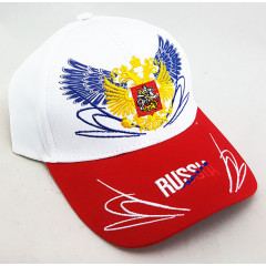 Головной убор Бейсболка Россия, Герб России, белый верх, красный козырек
