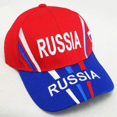 Головной убор Бейсболка Россия, Герб России, красный верх, синий козырек