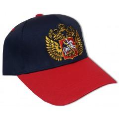 Герб России и вышитый флаг на козырьке, черная, синяя, красная, белая
