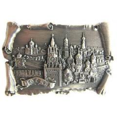 Магнит металлический 027-2ATN-19K23 рельефный свиток Москва Спасская башня ХВБ цв.серебро