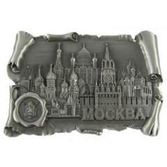Магнит металлический 027-4ATN-19K24 свиток с печатью Москва соборы цв.серебро
