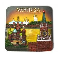 """Магнит полистоун 022-08-19K5 прямоуг. рельефный """"Москва. Коллаж. ХВБ-Спасская башня-Стена Кремля"""""""