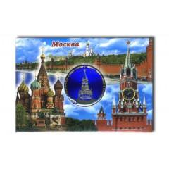 """Магнит 02-3-21-2B-19K12 мет.пл. вставка диск """"Москва.Сп.башн."""" цв.син.""""Москва-коллаж"""""""