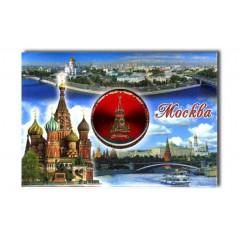 """Магнит 02-3-21-2R-19K10 мет.пл. вставка диск """"Москва.Сп.башн."""" цв.красн.""""Москва-коллаж"""""""