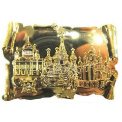 Магнит металлический 027-2GBI-19K35 глянцевый свиток Москва Соборы цв.золото