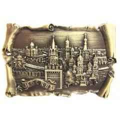 Магнит металлический 027-2CU-19K23 рельефный свиток Москва Спасская башня ХВБ цв. бронза