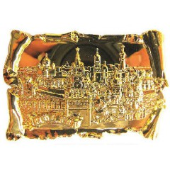 Магнит металлический 027-2GBI-19K23 рельефный свиток Москва Спасская башня ХВБ цв.золото