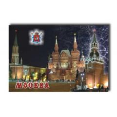 """Магнит металлический 02-19K16 мет. плоский """"Москва. Ночной вид. Никольская башня - Исторический музей - Спасская башня."""