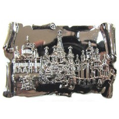 Магнит металлический 027-2CHB-19K35 глянцевый свиток Москва соборы цв. серебро