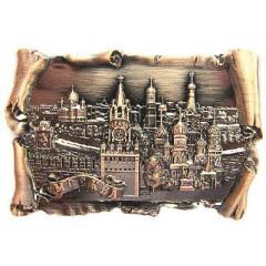 Магнит 027-2BR-19K23 рельефный свиток Москва Спасская башня ХВБ цв. медный