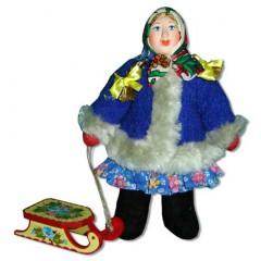 Кукла авторская Галина Масленникова А2-7 Девочка с санками